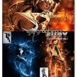 اکشن فتوشاپ افکت شعله های خشم Fury Photoshop Action Vol.1