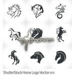 دانلود مجموعه طرح های وکتور لوگو سر و بدن اسب ShutterStock