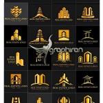 تصاویر وکتور لوگو ساختمان و مشاور املاک Real Estate Logo Set