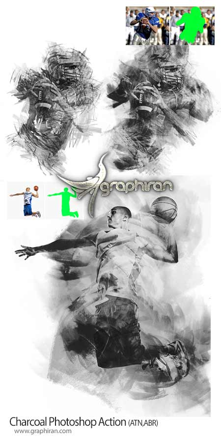 اکشن فتوشاپ افکت نقاشی ذغالی