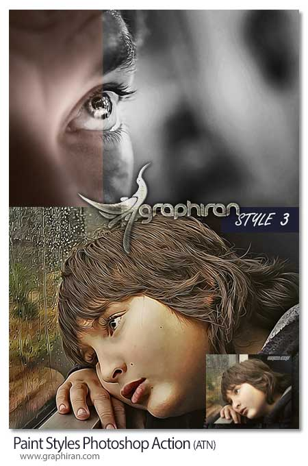 Paint Styles Photoshop Action اکشن فتوشاپ ایجاد استایل نقاشی Paint Styles Photoshop Action