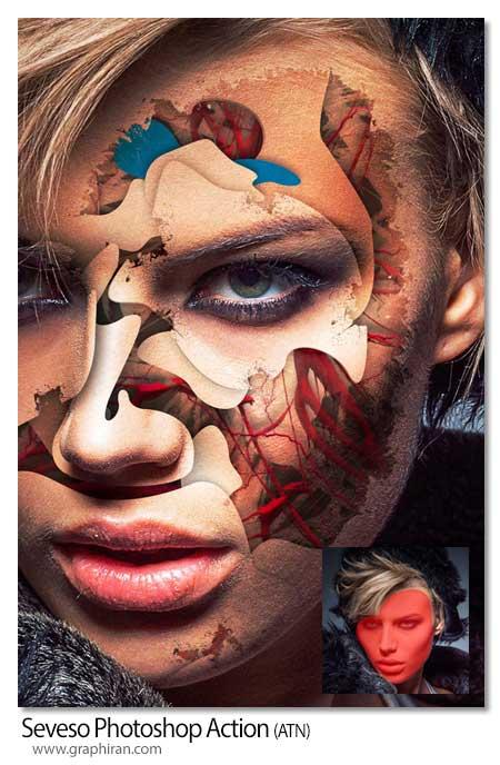 اکشن فتوشاپ افکت های انتزاعی روی صورت