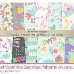 مجموعه پترن زیبای ولنتاین Sweet Valentine Seamless Patterns