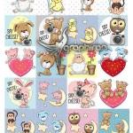 دانلود ۳۰ طرح وکتور حیوانات کارتونی Cartoon Animal Vector Set
