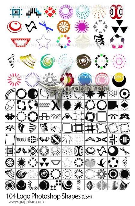104 شکل طراحی لوگو به صورت شیپ فتوشاپ Logo Photoshop Shapesشیپ فتوشاپ