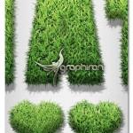 اکشن فتوشاپ تبدیل شکل و متن به طرح چمن Grass Generator