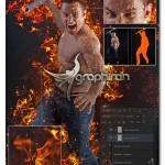 اکشن فتوشاپ افکت آتش واقعی Real Burn Photoshop Action