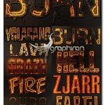 استایل های فتوشاپ آتش و مواد مذاب Burn Lava & Fire Styles