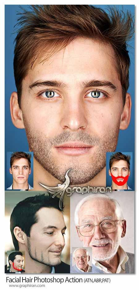اکشن فتوشاپ ساخت ریش روی صورت