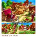 دانلود مجموعه مدل تری دی مکس دهکده قدیمی Medieval Town