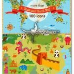 طرح وکتور نقشه جهان با بیش از ۱۰۰ آیکون مشخصات مهم هر کشور