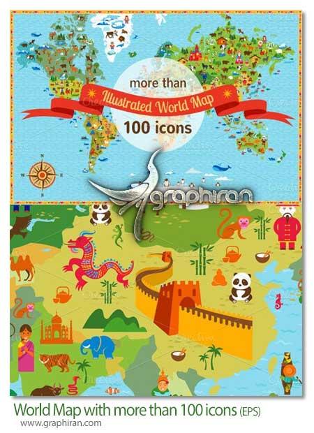 طرح وکتور نقشه جهان