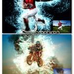 اکشن فتوشاپ ایجاد افکت پاشیدن آب Water Photoshop Action