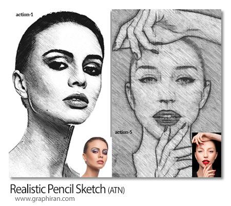 اکشن فتوشاپ ایجاد افکت نقاشی با مداد