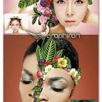اکشن فتوشاپ ساخت چهره گل دار Floral Faces Photoshop Action