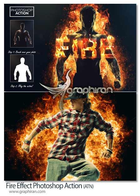 اکشن فتوشاپ ایجاد افکت آتش گرفتن
