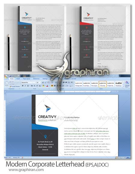 Modern Letterhead دانلود طرح مدرن سربرگ اداری و همچنین شرکت فرمت EPS، AI و همچنین DOC