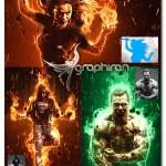 اکشن فتوشاپ ایجاد افکت آتش PyroClasm Photoshop Actions