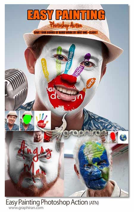 Easy Painting Action اکشن فتوشاپ نقاشی ساده روی چهره Easy Painting Photoshop Action