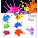 مجموعه براش های پخش شدن آبرنگ Watercolor Splash Brushes
