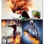 اکشن فتوشاپ ساخت خلاقانه افکت آتش Fire Photoshop Action