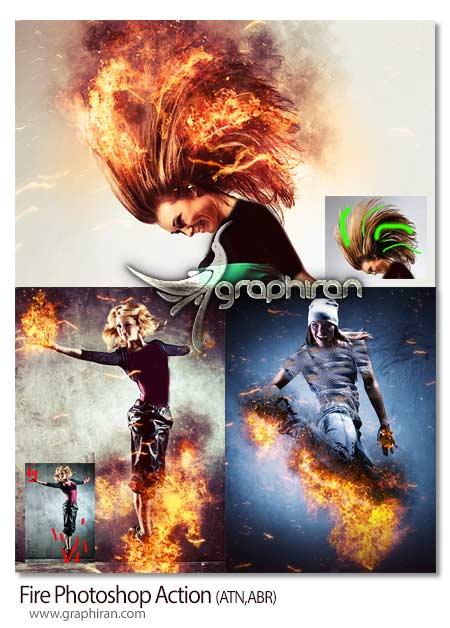 اکشن فتوشاپ ساخت خلاقانه افکت آتش