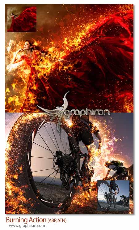 اکشن فتوشاپ سوختن در شعله های سوزان آتش