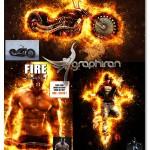 اکشن فتوشاپ افکت شراره های آتشین Fire Photoshop Action