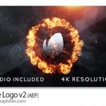 پروژه افتر افکت نمایش لوگو از وسط آتش Flame Logo v2