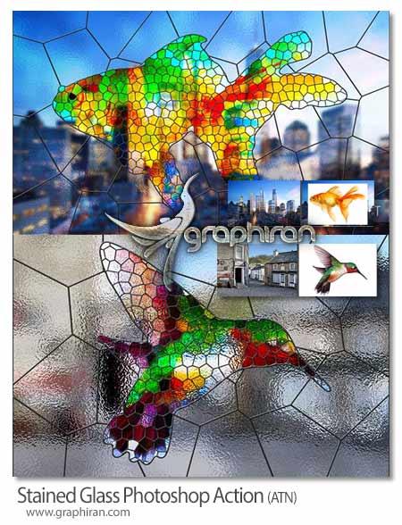 اکشن فتوشاپ ساخت شیشه رنگی
