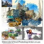 اکشن افکت نقاشی آبرنگ و مداد Watercolor & Pencil Photoshop Action