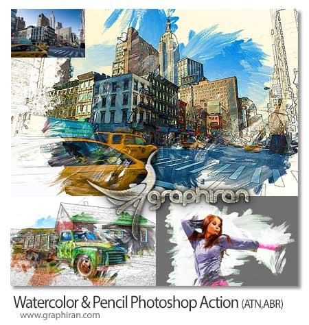 اکشن فتوشاپ افکت نقاشی آبرنگ و مداد