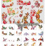مجموعه طرح های گل و مرغ اسلیمی ایرانی لایه باز PSD و PNG