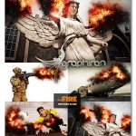 اکشن فتوشاپ اضافه کردن آتش در تصویر Add Fire Photoshop Action