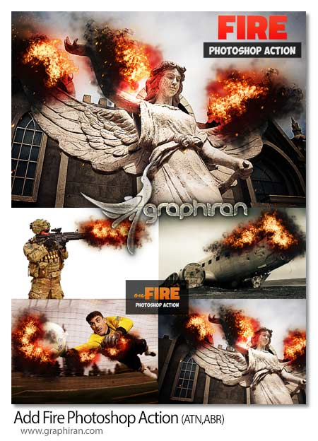 اکشن فتوشاپ اضافه کردن آتش در تصویر
