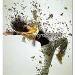 اکشن فتوشاپ پخش شدن ذرات روی عکس Dispersion Photoshop Action