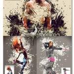 اکشن فتوشاپ چکیدن رنگ در عکس Splash Art Photoshop Action