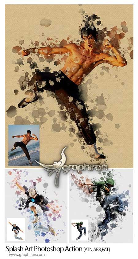 اکشن فتوشاپ افکت هنر ریختن رنگ