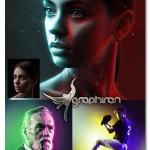 اکشن فتوشاپ ترکیب دو نور رنگی Double Light Photoshop Action