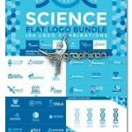 مجموعه لوگوهای آماده علوم مختلف Science 108 Flat Logos Bundle