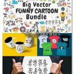 دانلود پک شکل های بامزه کارتونی وکتور Vector Cartoon Bundle