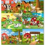 دانلود تصاویر کارتونی حیوانات در مزرعه فرمت وکتور AI لایه باز