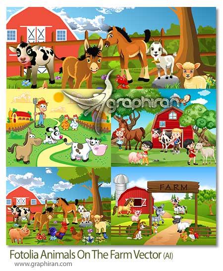 تصویر کارتونی از حیوانات در مزرعه