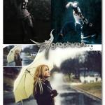 اکشن فتوشاپ افکت بارش باران متحرک Animated Rain Photoshop Action