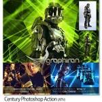 اکشن فتوشاپ افکت خط های نورانی رنگارنگ Century Photoshop Action