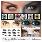 دانلود مجموعه براش فتوشاپ مژه و لنز برای آرایش چشم