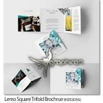 طرح لایه باز بروشور مربعی سه لت Lemo Square Trifold Brochrue