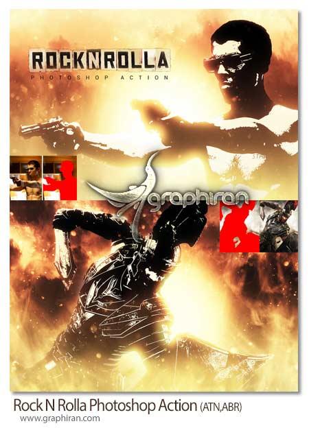 اکشن فتوشاپ افکت پوستر فیلم راک ان رولا