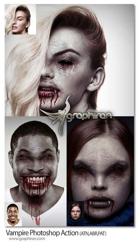 اکشن فتوشاپ تبدیل چهره به خون آشان