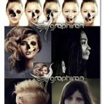 اکشن فتوشاپ ساخت صورت با اسکلت جمجمه Skull Face Ps Action